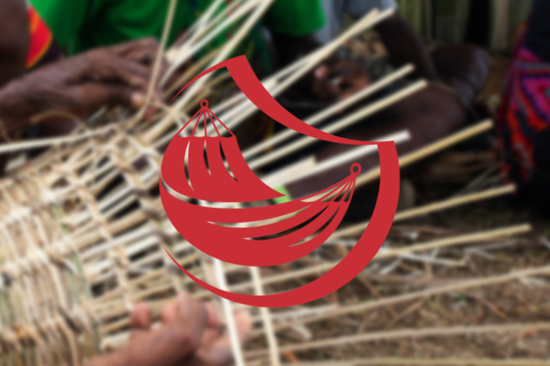 A blurred image of a lady weaving a basket is overlaid with the red Equipment icon.